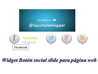 Widget Botón social slide para página web