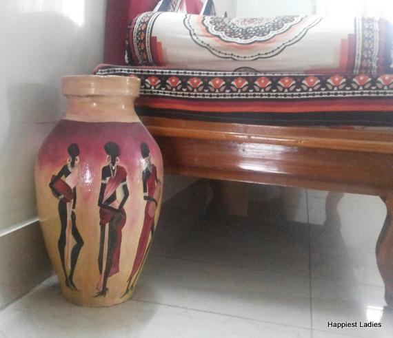 hand pinted floor vase
