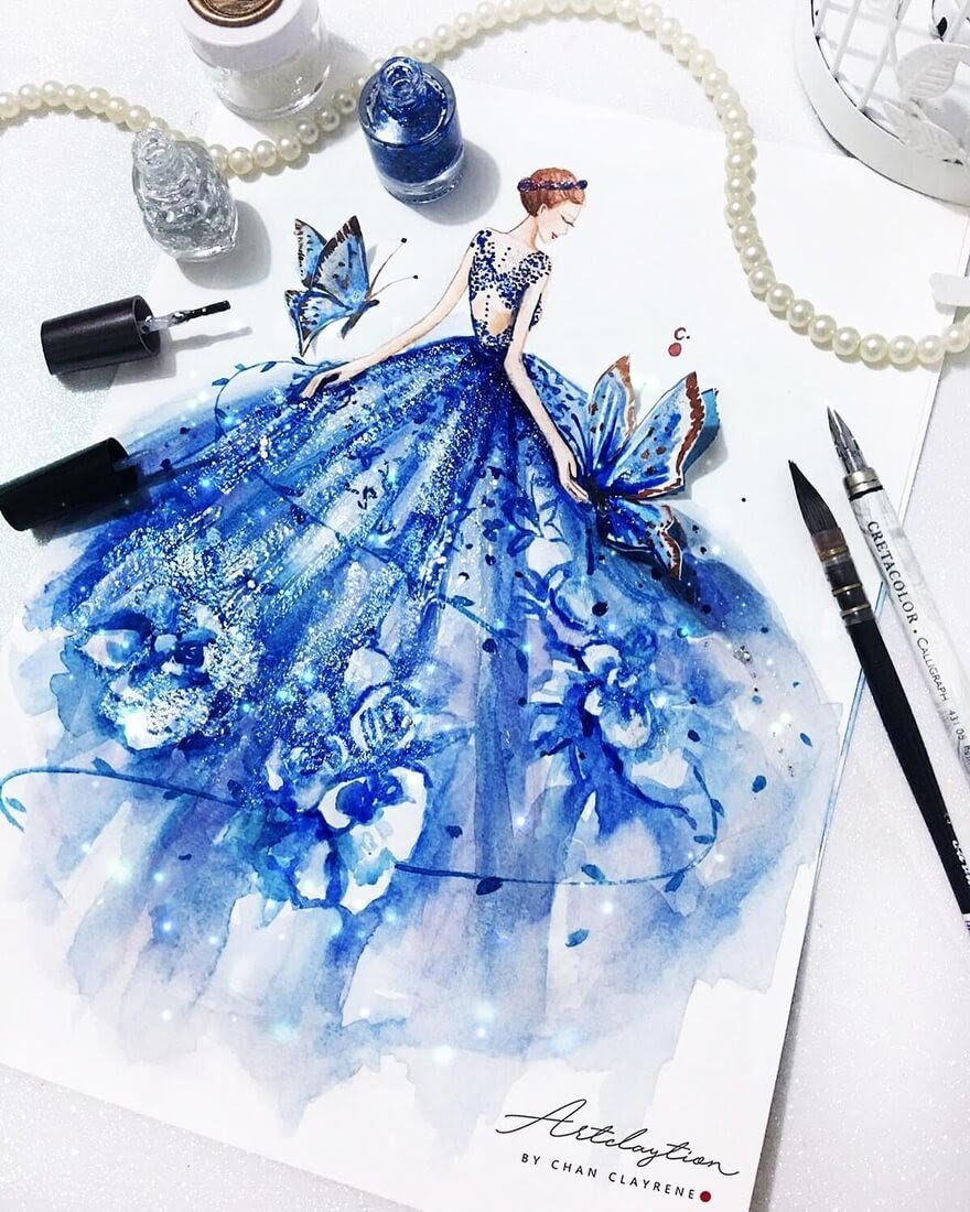 10-We-are-like-butterflies-Clayrene-Chan-Drawings-of-Lavish-Flowing-Dress-Designs-www-designstack-co