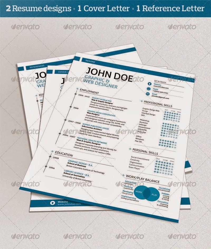 PSD Free Templates: GraphicRiver 3 Piece Swiss Style Resume set
