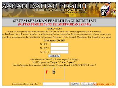 Semakan Daftar Pemilih Secara Online Dan SMS