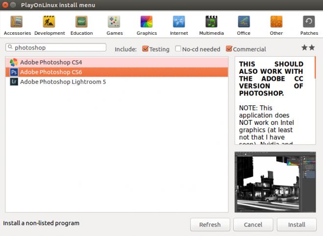 tampilan pencarian playonlinux