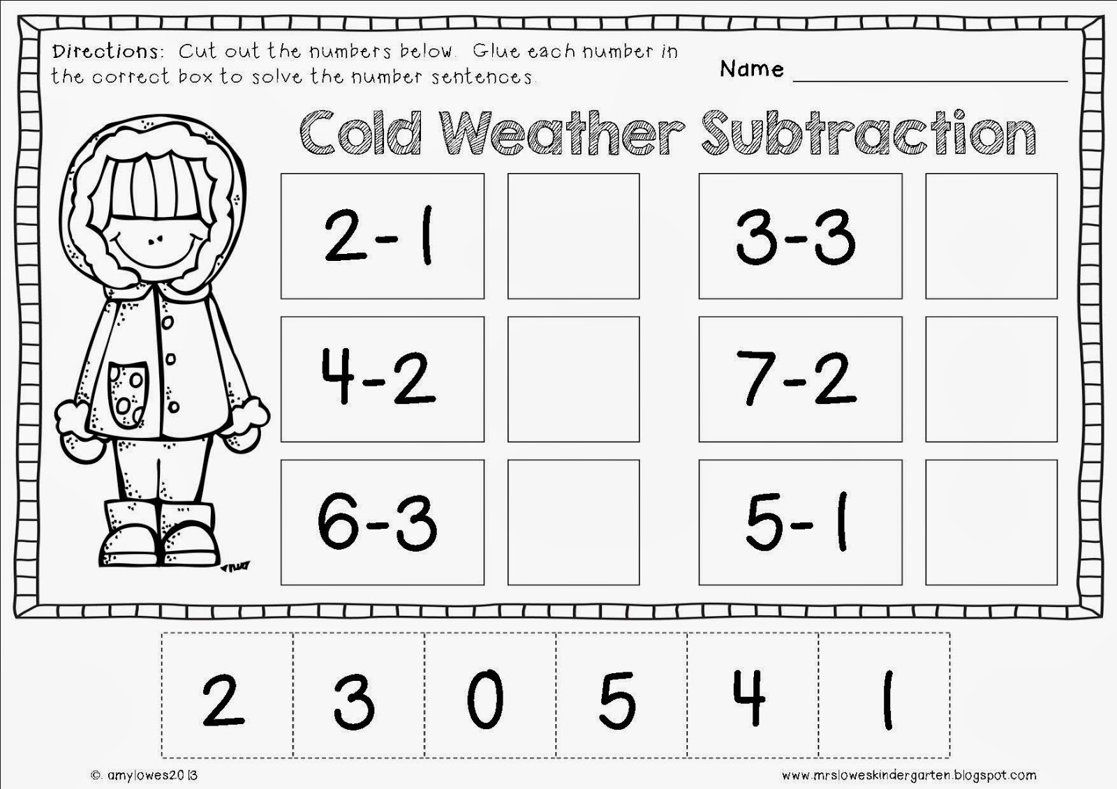 Mrs Lowes Kindergarten Korner No Prep Winter Math And