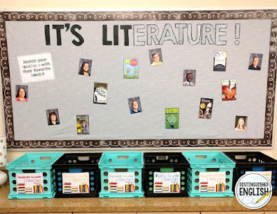 It's Lit (erature) Bulletin Board for Middle School English -- Match your teachers to their favorite books!