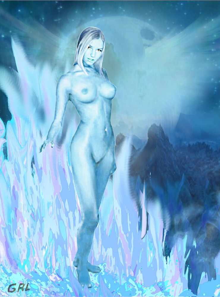 Selene, Greek Goddess of the Moon.... an original multimedia oil / acrylic digital painting of a female nude, Tasha, as moon goddess based on my own prior sketches and paintings. In Greek mythology, Selene is the goddess of the moon.