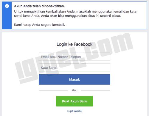 Menghapus akun Facebook Secara Sementara di PC