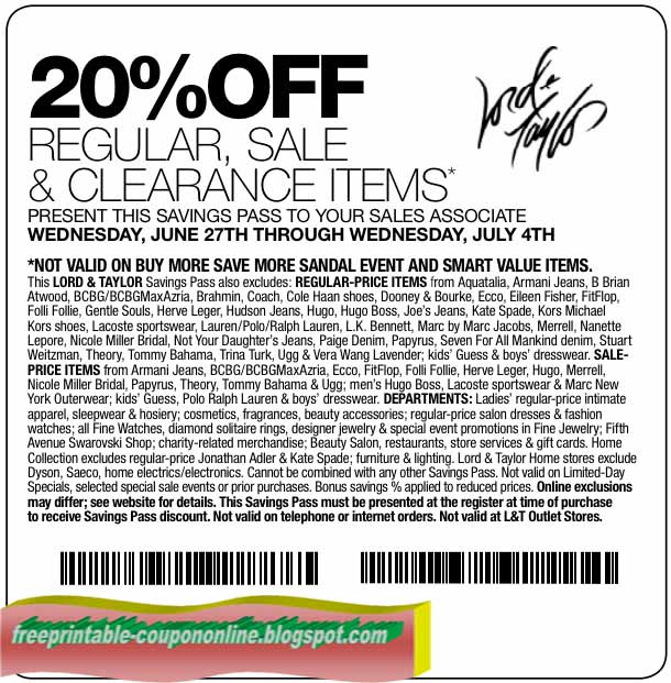 photograph relating to Lord and Taylor Printable Coupon titled Lord and taylor coupon code 25 : Bpi credit history card freebies