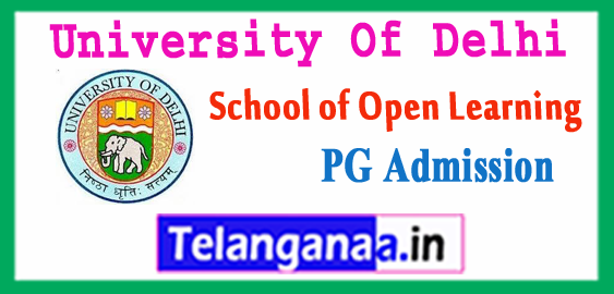 Delhi University  School of Open Learning PG Admission 2018-19 Application