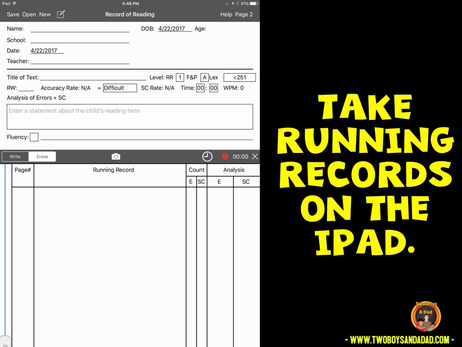 taking running records on an iPad App during guided reading