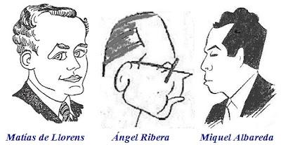 Caricaturas de Matías de Llorens, Ángel Ribera y Miquel Albareda