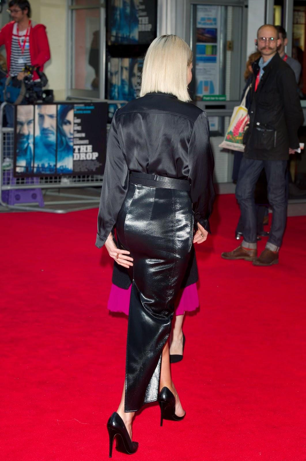 Noomi Rapace  black satin blouse  leather skirt  Satin Lite House