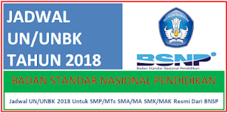 Jadwal UN/UNBK 2018 untuk SMK, SMA/MA dan SMP/Mts