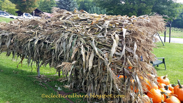 Eclectic Red Barn: Corn Stalk Cornucopia with Pumpkins