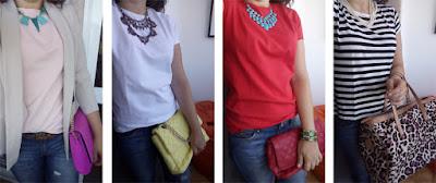 Jeans e t-shirt | t-shirt rosa claro + mala rosa forte + blazer bege + colar verde | t-shirt branca + mala amarela + colar vermelho | t-shirt vermelha + mala vermelha + colar azul | t-shirt riscas preto e branco + mala leopardo + colar pérolas