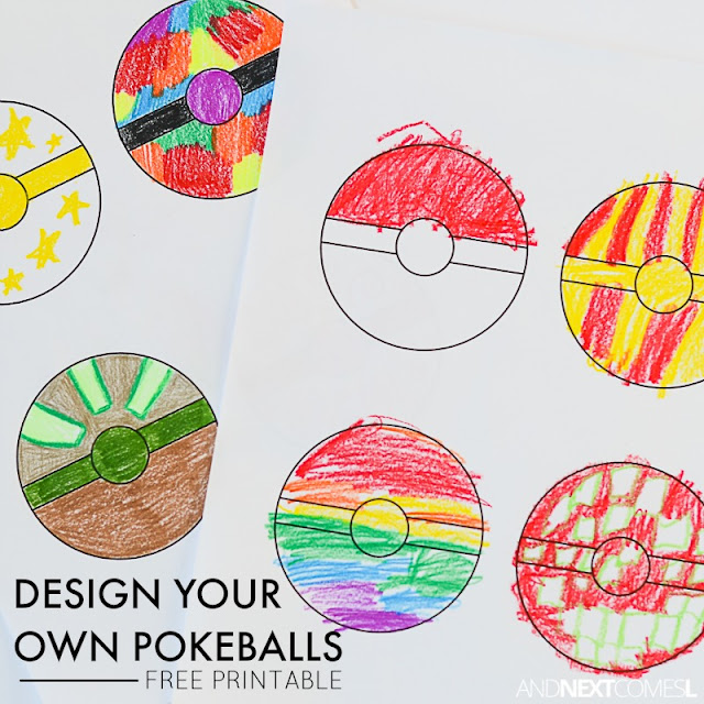 Free printable Pokemon coloring sheet to let kids design their own Pokeballs from And Next Comes L
