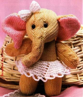 Вязаная игрушка слон спицами
