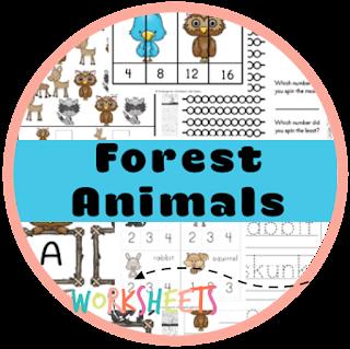 forest animals kindergarten worksheets