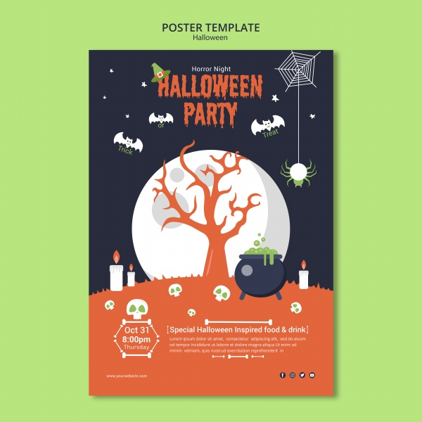 Halloween theme poster PSD material free psd template