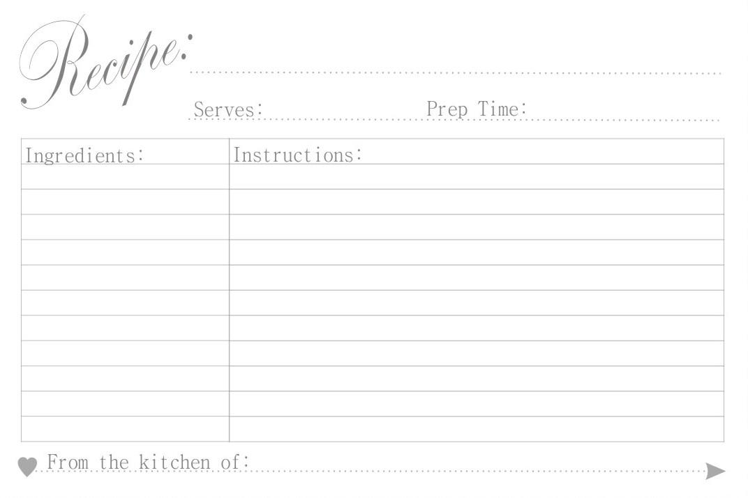 Printable Recipe Card Templates – Sample Recipe Card
