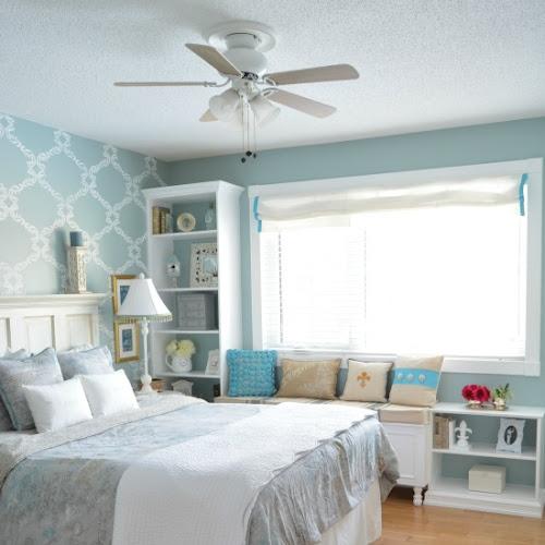 Custom DIY Master Bedroom Window Seat And Bookcase