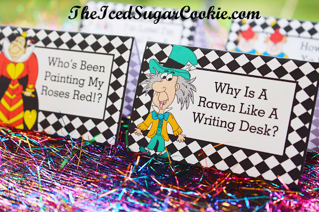 Alice In Wonderland Birthday Party Printables Cutout Template-Mad Hatter: Why Is A Raven Like A Writing Desk? Red Queen: Who's Been Painting My Roses Red? Tweedledee Tweedledum: How Do Ya Do Shake Hands White Rabbit: I'm Late, I'm Late For A Very Important Date