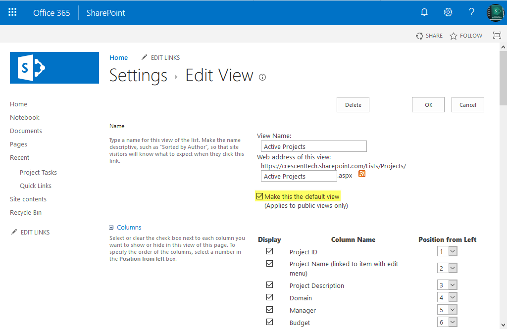 change default view in sharepoint online