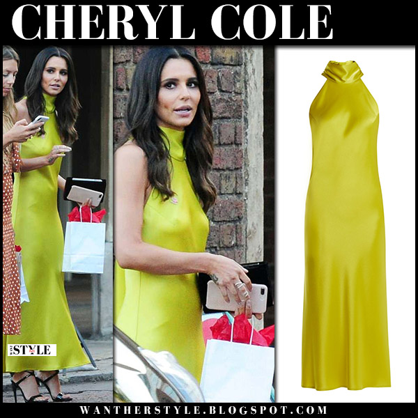 Cheryl Cole in yellow green satin halter neck dress galvan red carpet elegant style june 27
