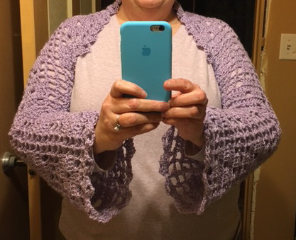 Simple Knits: Lilac Blossoms Shrug to Crochet