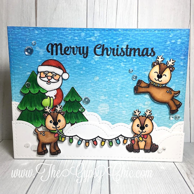 Sunny Studio Stamps: Gleeful Reindeer & Christmas Icons Card by Stephanie Davis