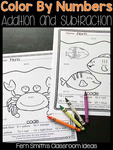 Color By Numbers Ocean Animals Mixed Addition and Mixed Subtraction at TeacherspayTeachers.