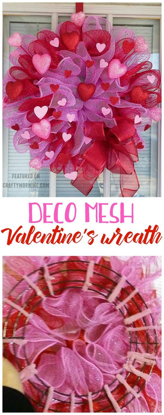 make deco mesh valentine wreath