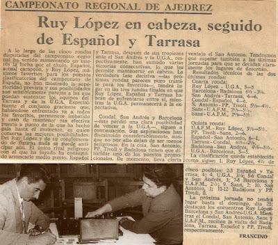 Recorte del Diario de Barcelona sobre el Campeonato Regional de Ajedrez de 1963