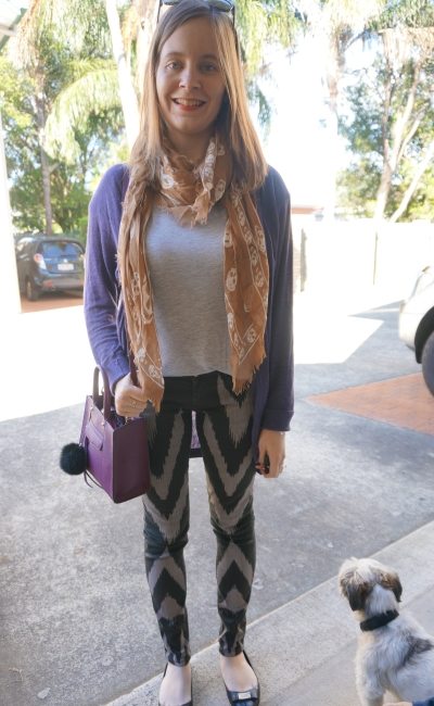 purple cardi, grey tee, skull scarf and sass & bide playman printed skinny jeans | Away From Blue