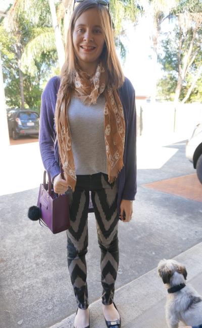 purple cardi, grey tee, skull scarf and sass & bide playman printed skinny jeans | Away From Blue