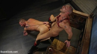 Muscled pig slave gets his first taste of the cattle prod – Hugh Hunter & Jessie Colter