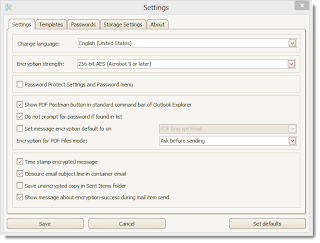 PDF Postman settings menu.
