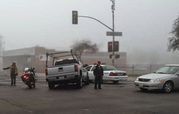 fresno truck vehicle collision dense fog tulare r streets