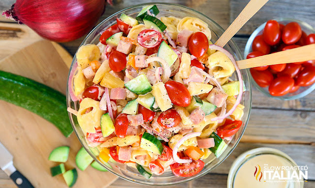Hawaiian tortellini pasta salad with video hawaiian tortellini pasta salad is a like a party in your mouth its a blend of your favorite island flavors in a fabulously bright sweet and tangy summer forumfinder Images