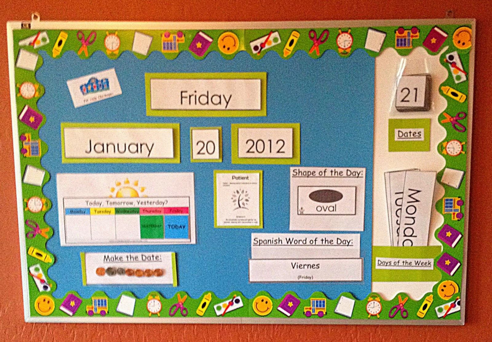 Kindergarten Calendar Time S : Fit kids clubhouse calendar yesterday or tomorrow