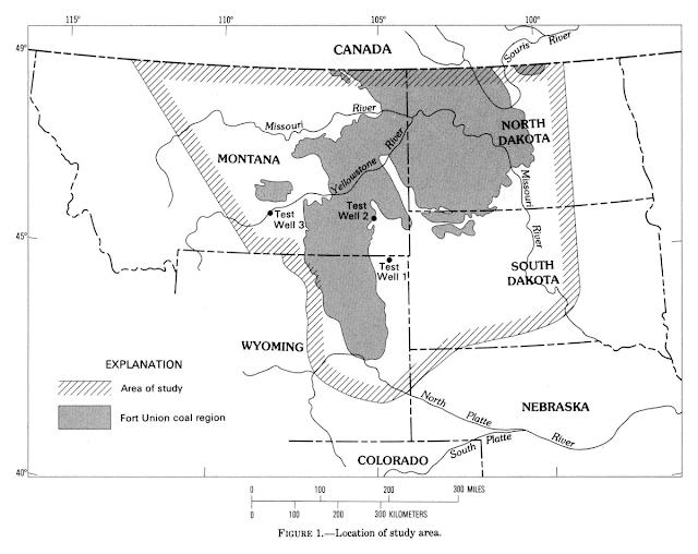 Map featuring area of study including Montana, North Dakota South Dakota, Wyoming, and north west corner of Nebraska