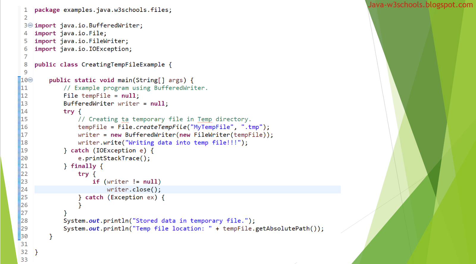 Program: How to write or store data into temporary file in java
