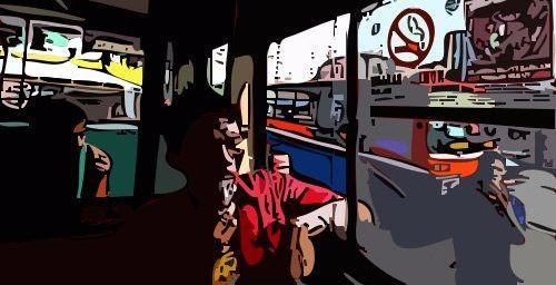 Ilustrasi Merokok di Mobil Bus