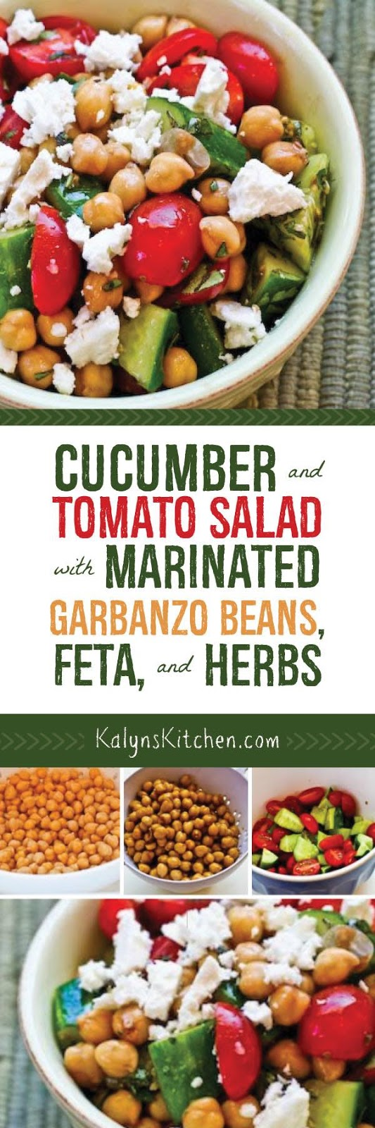 Cucumber and Tomato Salad with Marinated Garbanzo Beans, Feta, and ...