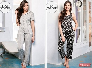 Penny Nightwear (Top & Pyajam | Top & Capries | Top & Shorts | Two Piece Sets) – Flat 50% Off + Extra 5% Off @ Zivame