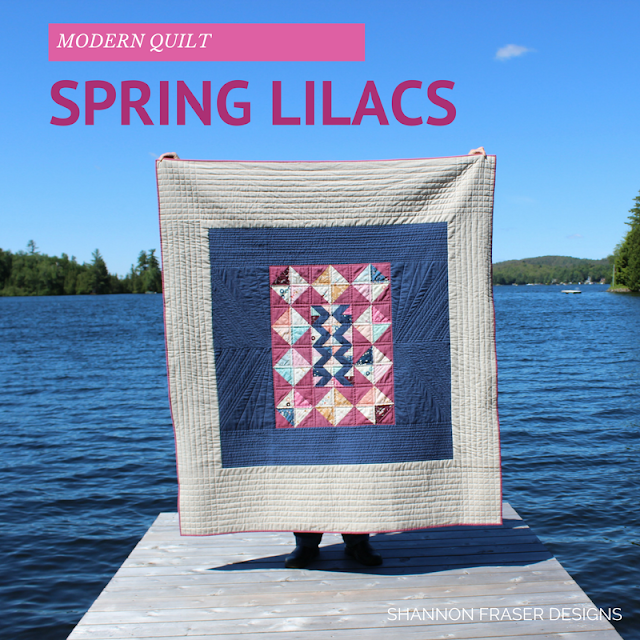 Spring Lilacs Quilt | Shannon Fraser Designs | Modern Quilt | Fabric Scraps Project | Quilting without a pattern | Shot Cotton | Art Gallery Fabrics | Playground Fabrics | Essex Linen