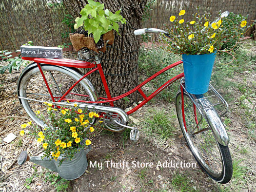 vintage bike seat upcycle and repurposed bike garden art