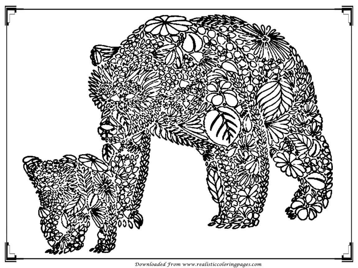 Realistic American Black Bear Coloring Page Free Printable Pages