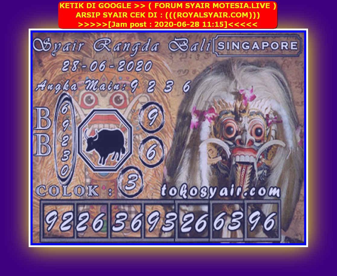 Kode syair Singapore Minggu 28 Juni 2020 102