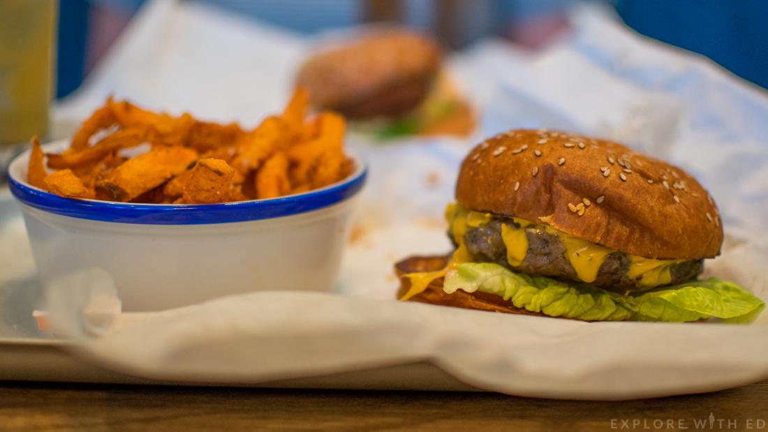 Locke & Remedy Cheese Burger, Sweet Potato Fries