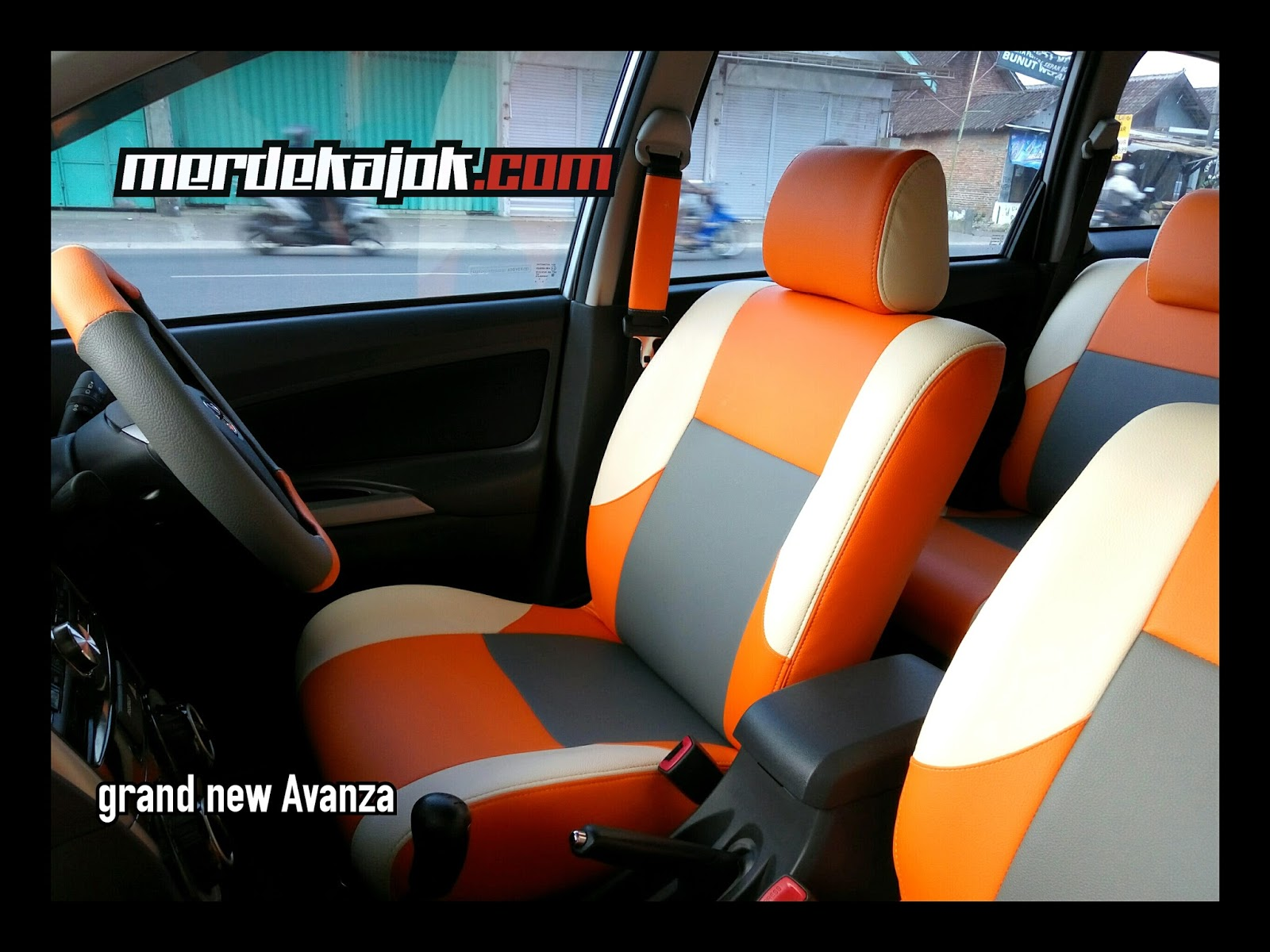 cover jok grand new avanza veloz 1.3 matic mobil malang merdekajok orange gray cream